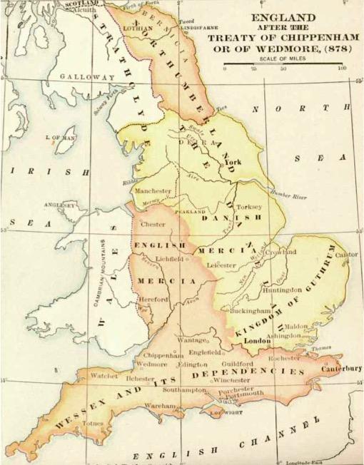 Map of Danelaw, England