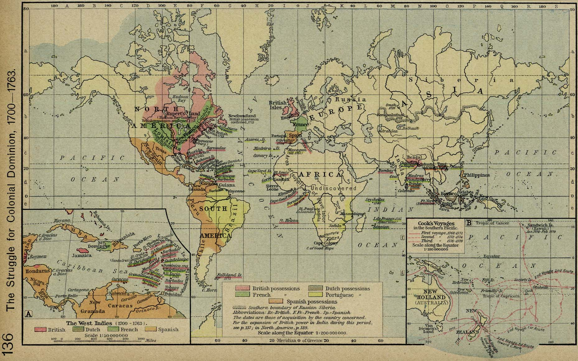 Colonial world map 1700s