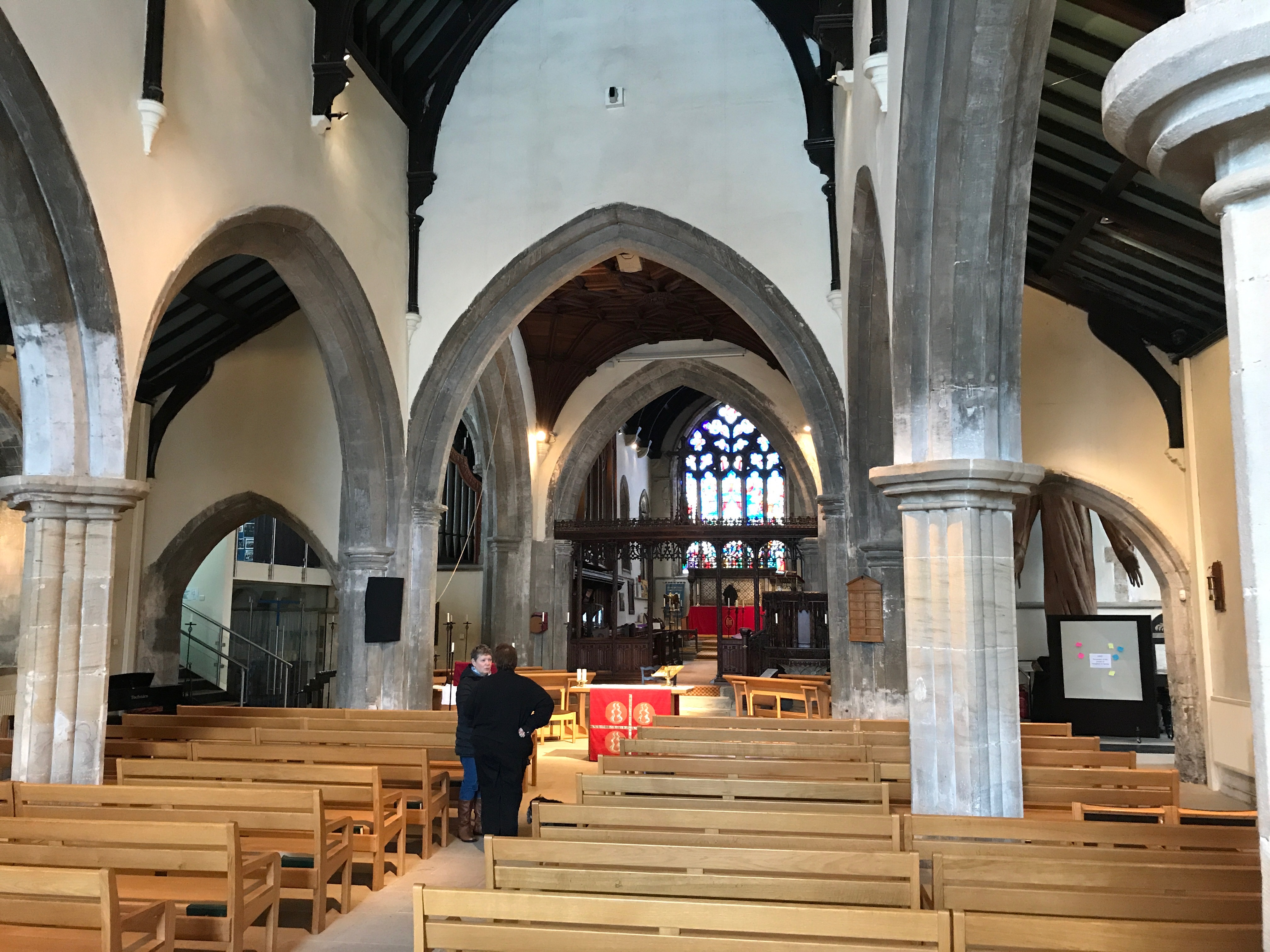 Inside Houghton le Spring parish church of St Michael's and All Saints