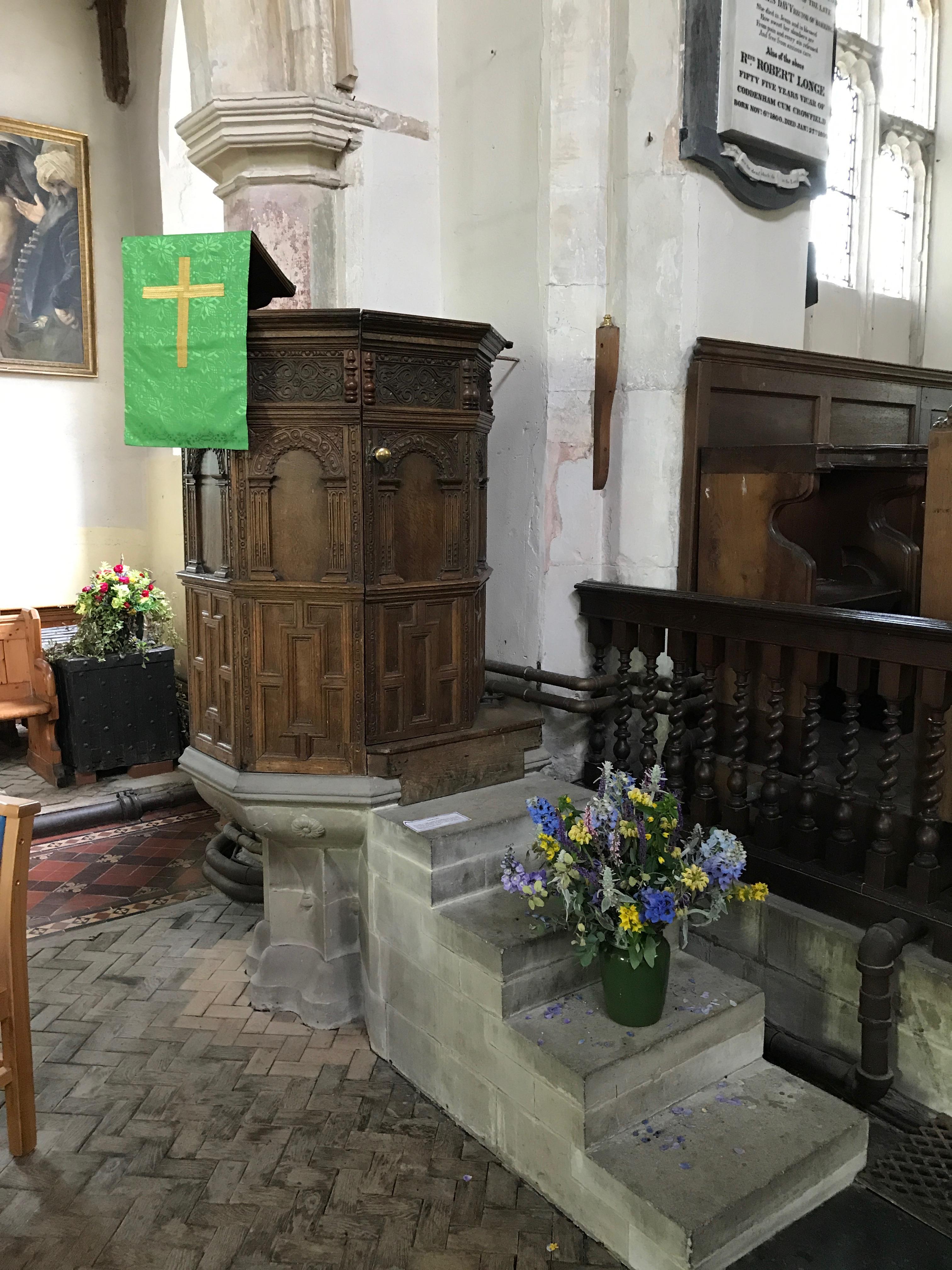 Pulpit in St Mary's, Coddenham, Suffolk.