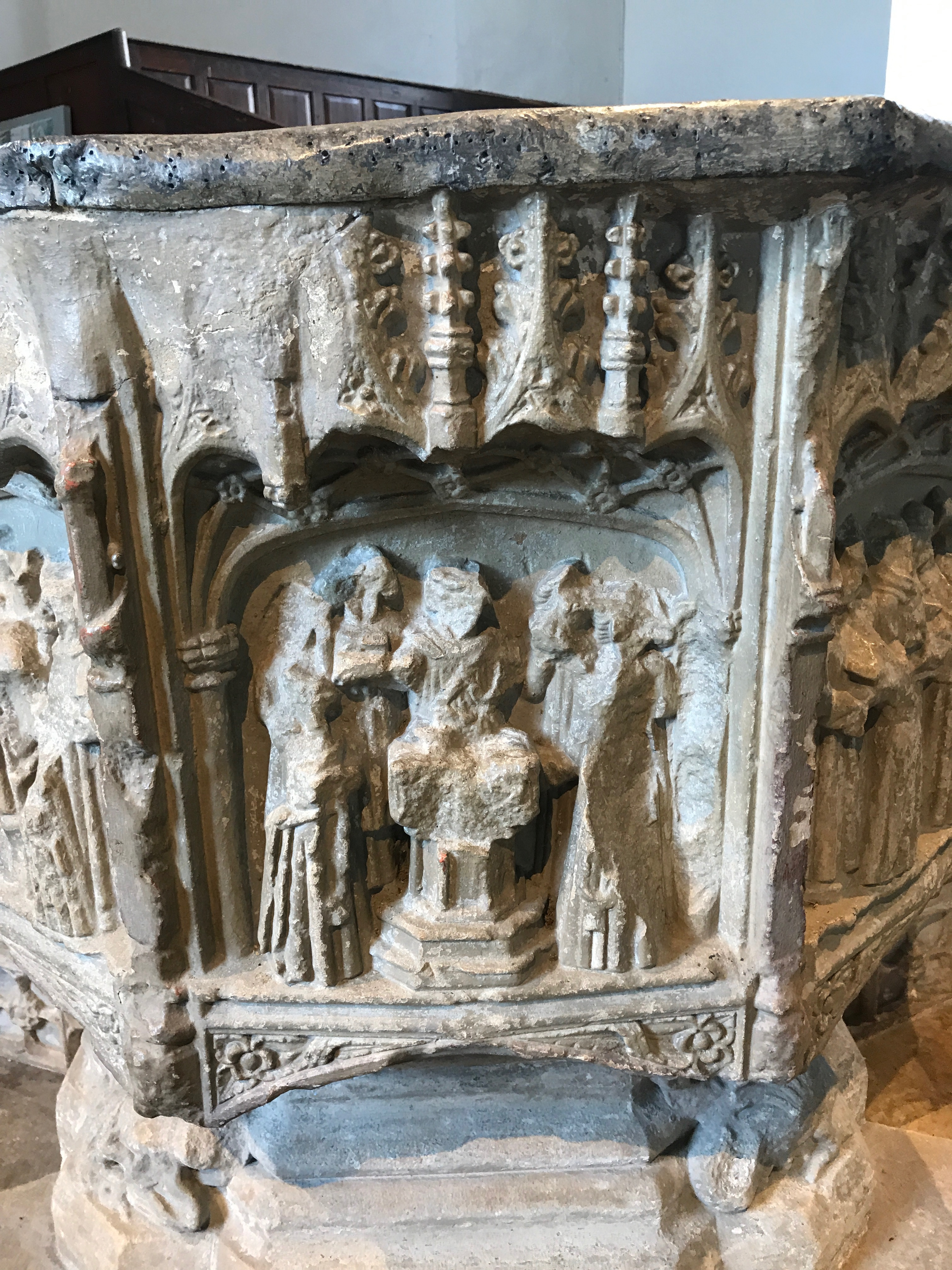 Detail of damaged font, Laxfield - evidence of iconoclasm in 1600s.
