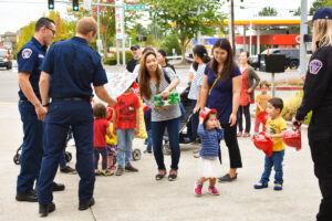 Image of preschool students receiving a tour at Fire Station 13