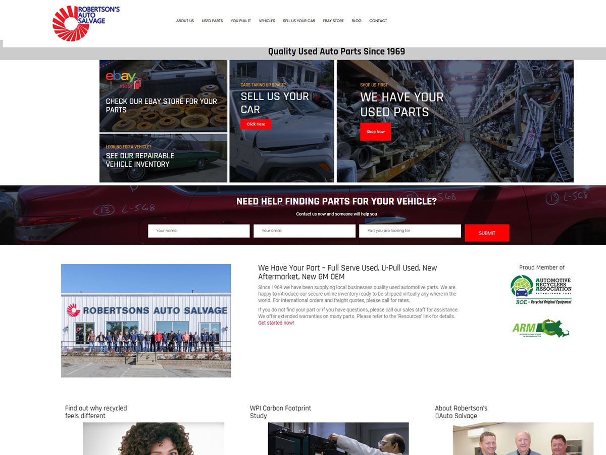 The New And Improved Robertson's Salvage Website