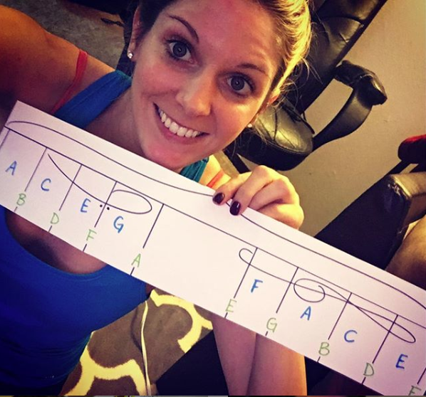 Owner and Founder, Tara Boykin showing first draft of NoteMatch, the piano reading tool