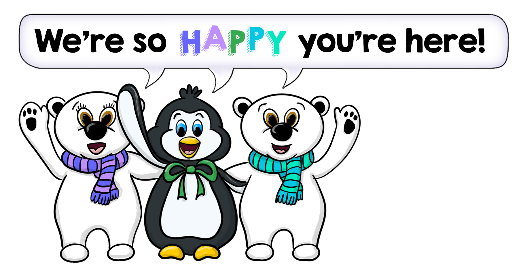 Cascade Method characters saying We're so happy you're here