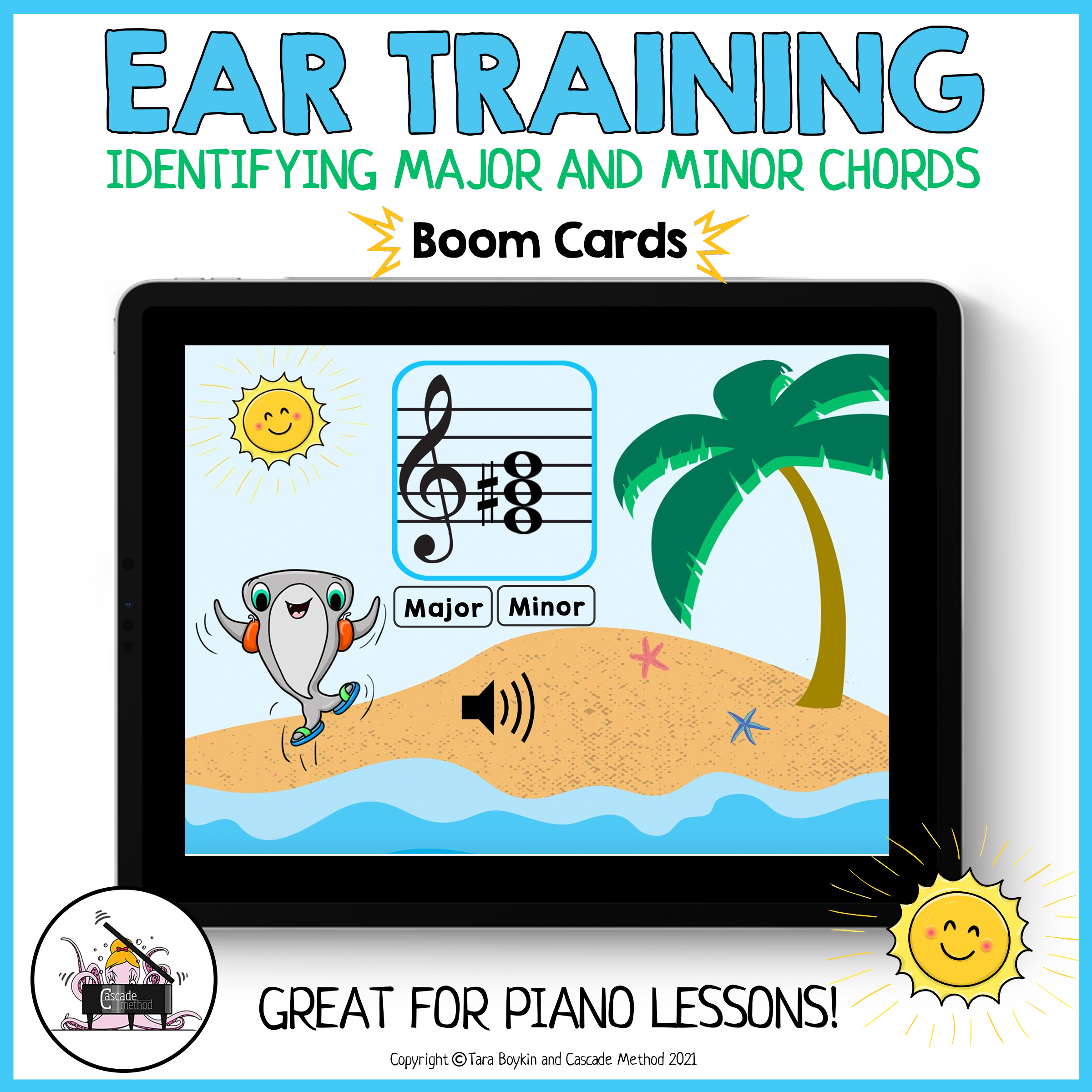 Major and Minor Chords for Ear Training using Boom Cards