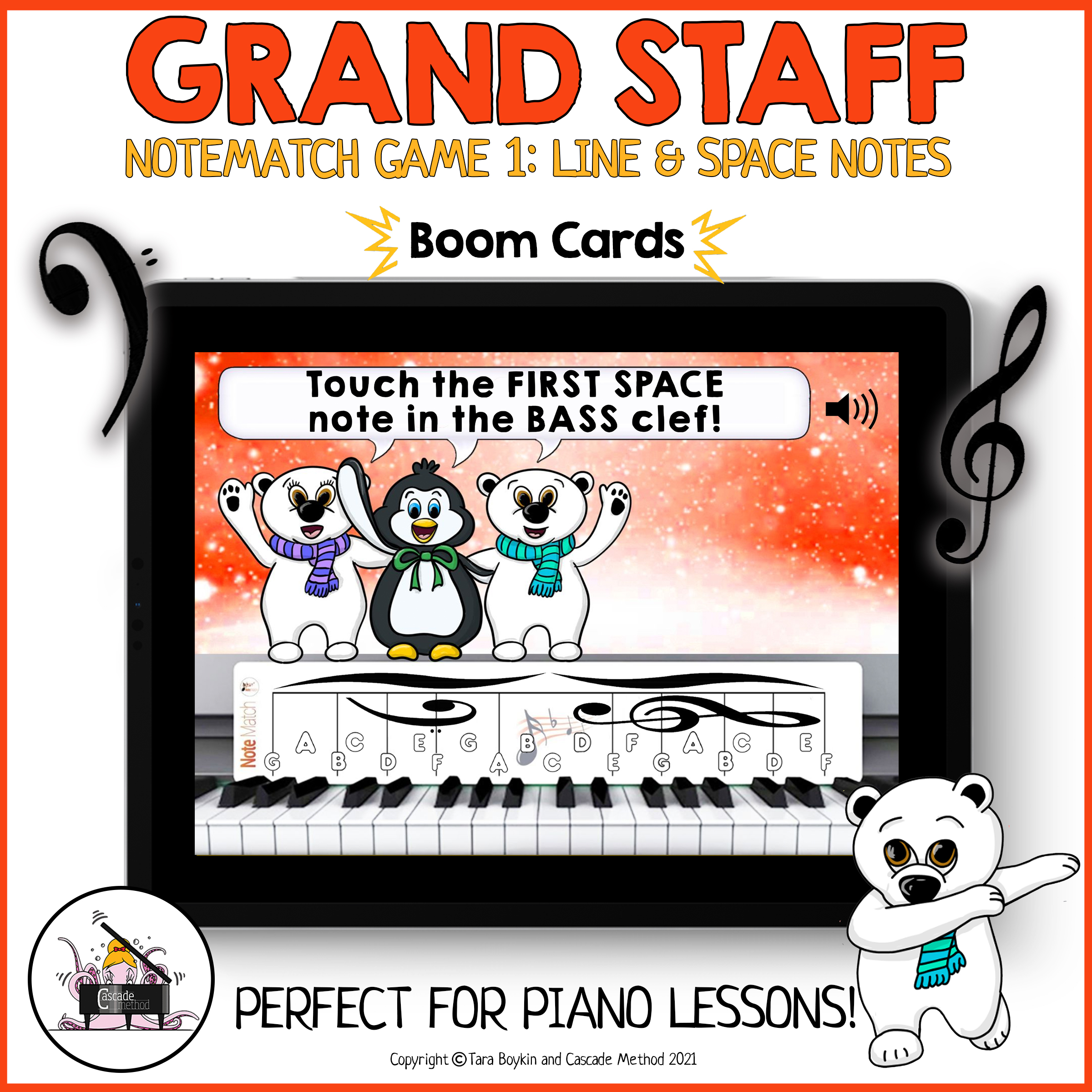NoteMatch and Grand Staff Boom Cards