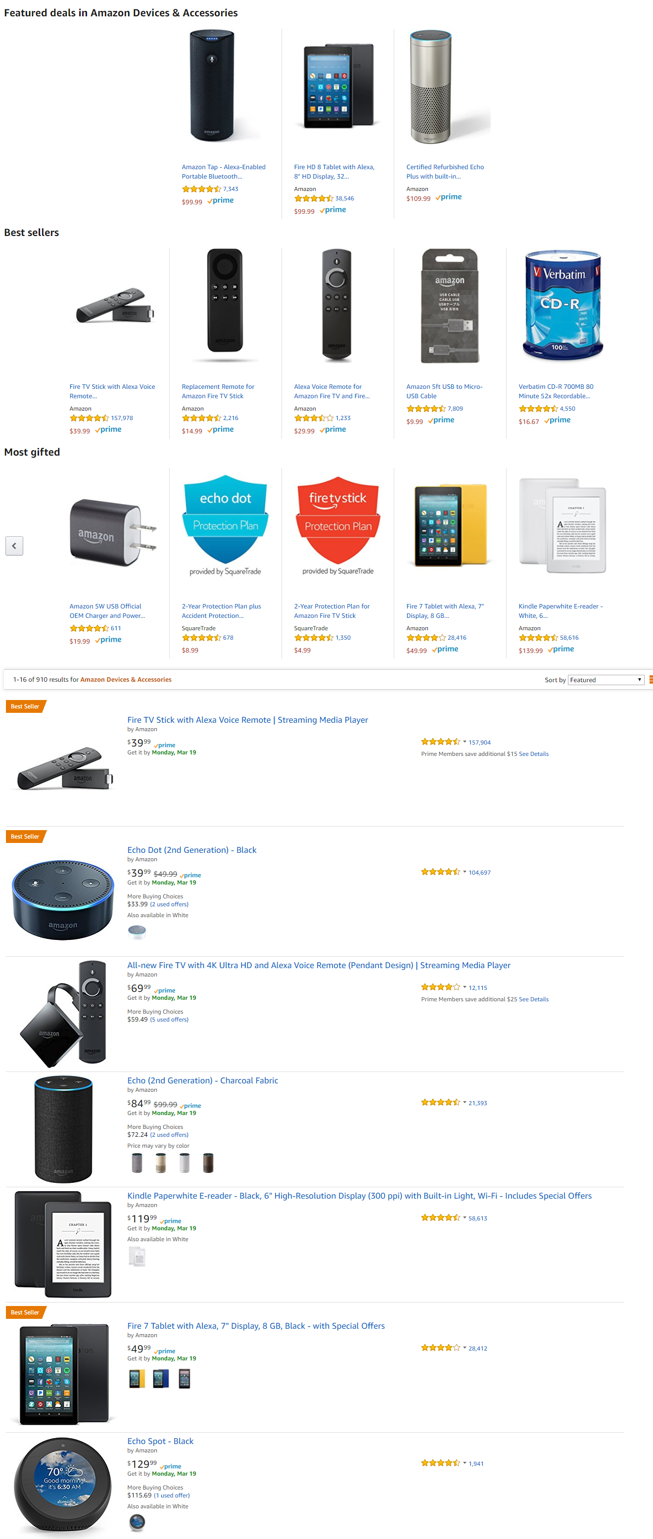 Alexa Featured in Amazon Best Seller Devises and Accessories