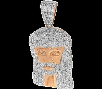 10K DIAMOND ROSE GOLD JESUS HEAD PENDANT