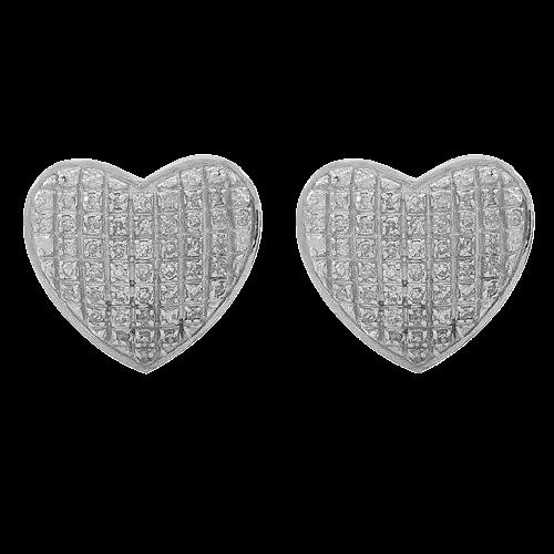10K SOLID WHITE GOLD WOMEN'S DIAMOND HEART STUD EARRINGS 0.30 CTW