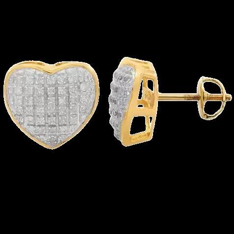 10K SOLID YELLOW GOLD WOMEN'S DIAMOND HEART STUD EARRINGS 0.25 CTW