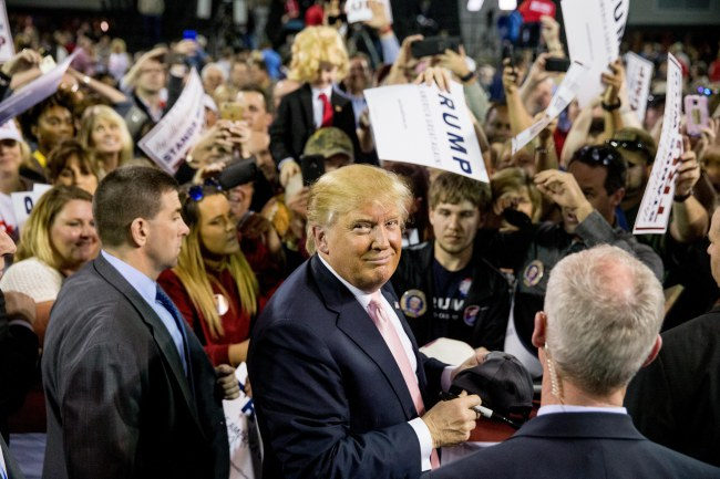 Republican presidential candidate Donald Trump greets members of the audience after speaking at a rally at Valdosta State University in Valdosta, Ga., Monday, Feb. 29, 2016. (AP Photo/Andrew Harnik)
