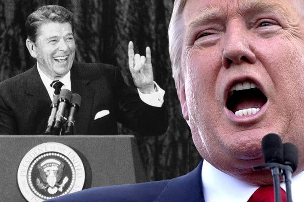 President Ronald Reagan gestures during a rally at a Dallas hotel on August 22, 1984. Reagan and Vice President George Bush are to receive the nomination from the Republican National Convention later in the evening. (AP Photo/Bill Haber)
