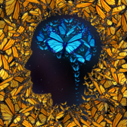 Inspiration concept and thinking potential metaphor as a group of butterflies in the shape of a human face and brain as a symbol for learning and the power of education and innovation.
