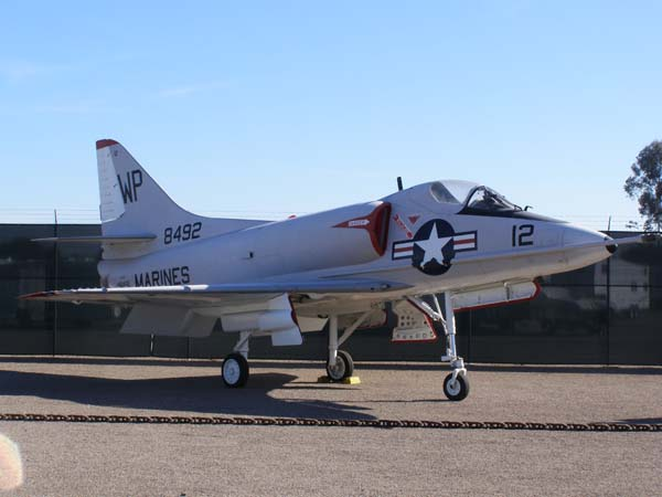 Douglas A-4C Skyhawk military plane at Flying Leatherneck Aviation Museum