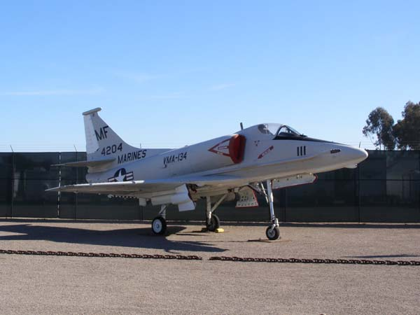 Skyhawk A-4F military plane at Flying Leatherneck Aviation Museum