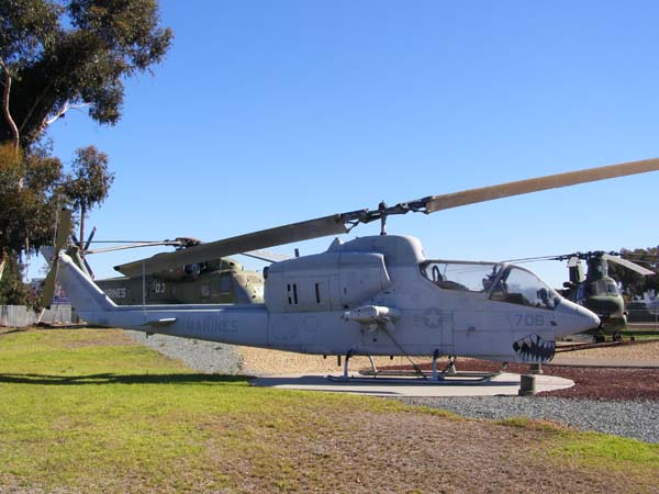 Sea Cobra AH-1 military helicopter at Flying Leatherneck Aviation Museum