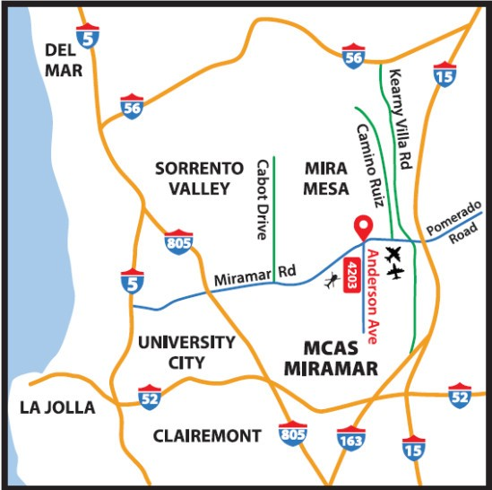 location map to Flying Leatherneck Aviation Museum San Diego