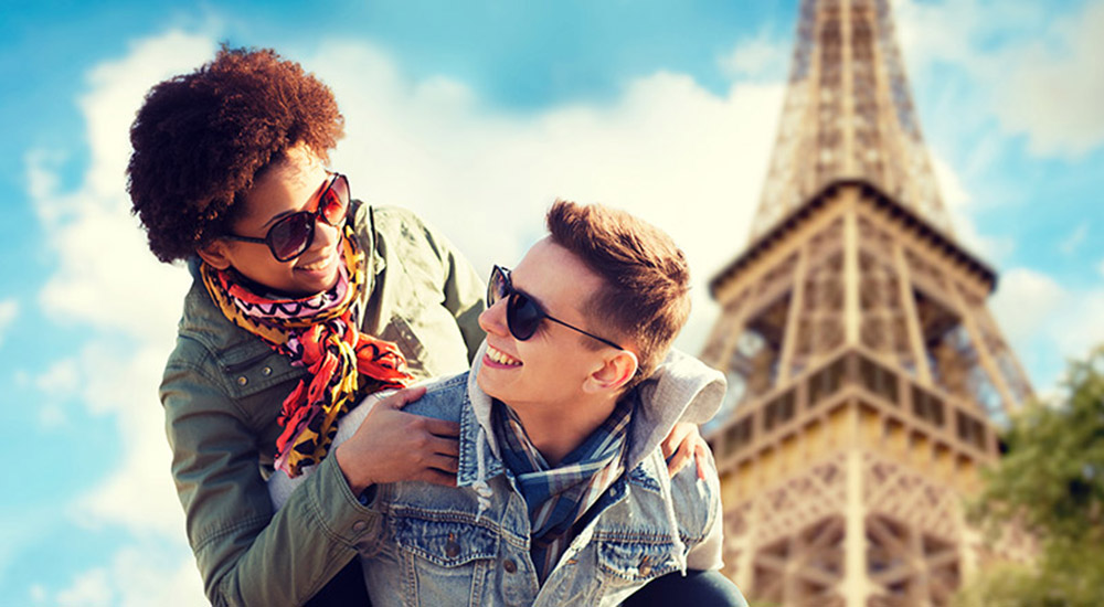 Couple in front of Eiffel Tower on Trip