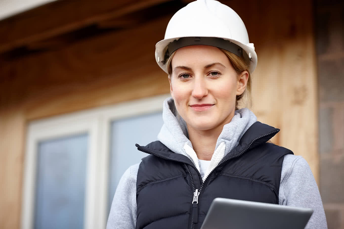 Architect with a tablet computer during a building inspection.