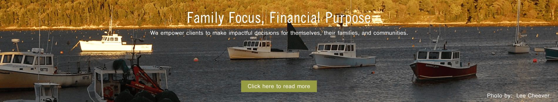 Banner image stating Cribstone Capital has family focus with financial purpose.