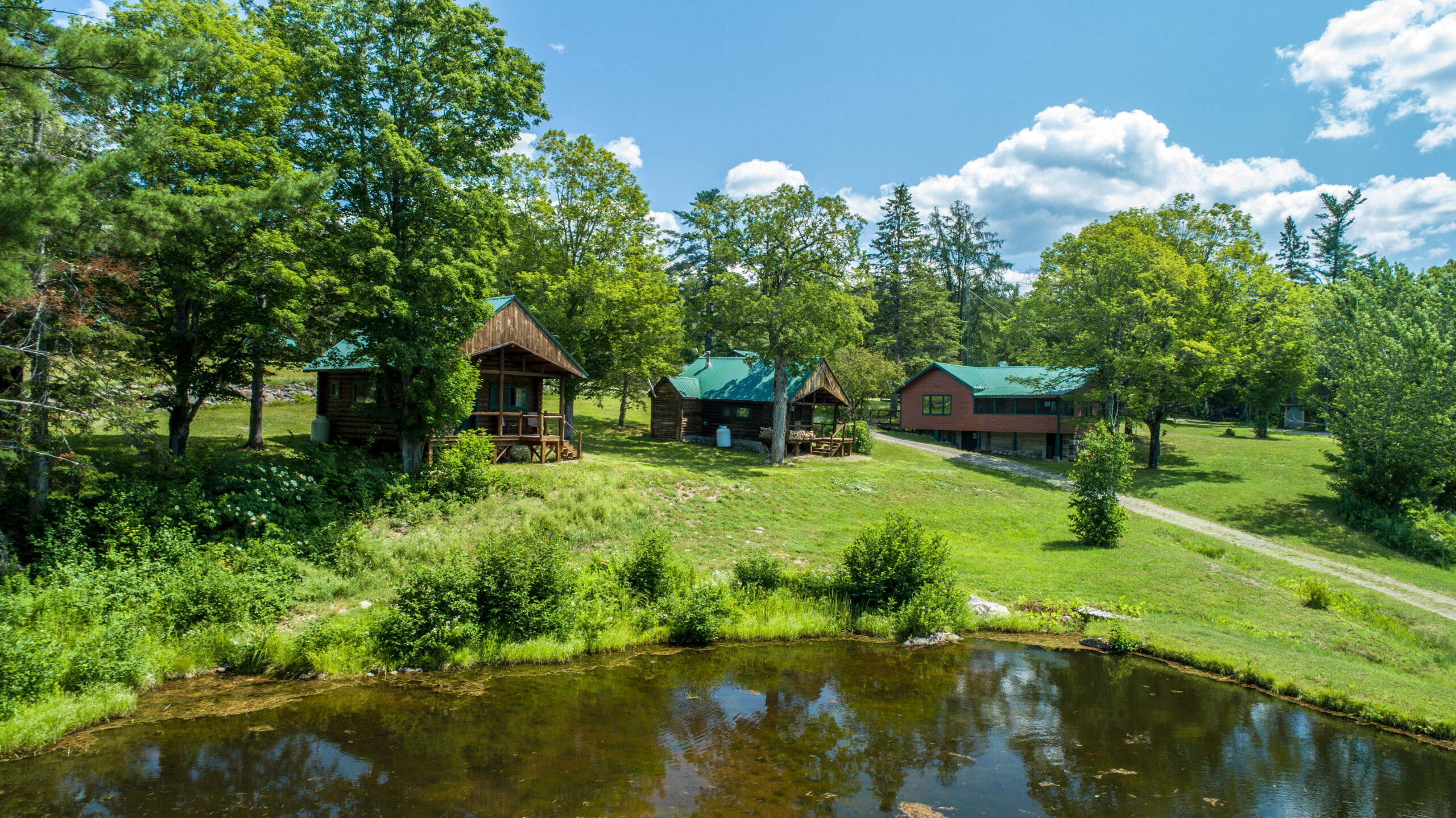 Bowlin Camps in the Katahdin Region. This photo shows a few of its many Cabins.