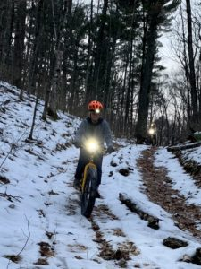 Sisters ride FATbike together on the steeps w/ a bit of snow