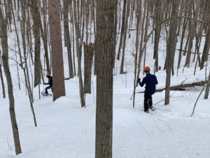 Snowshoeing the steep backcountry of Cable, WI