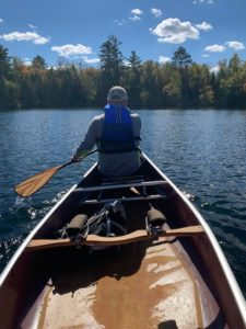 Canoe guided tour of local lake during the Fall