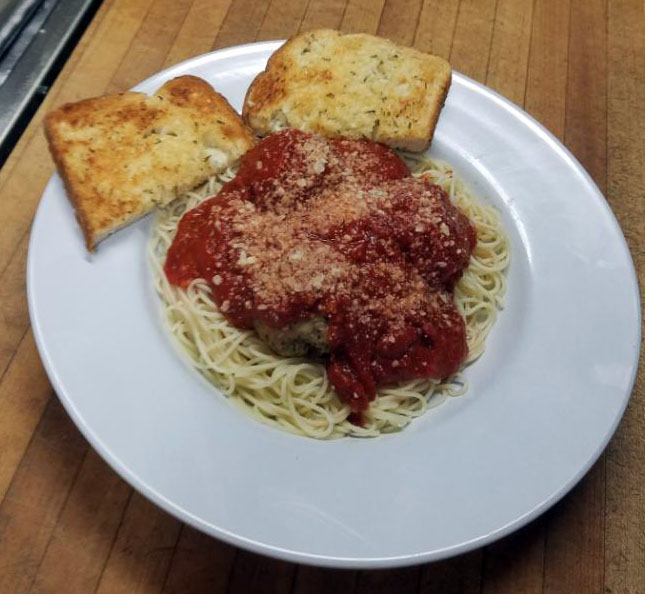 Chicken Meatballs with Marinara Sauce and Angel Hair pasta