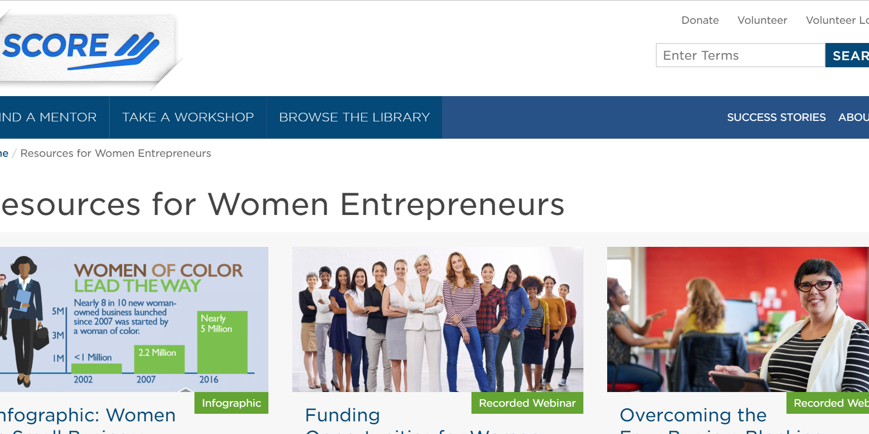 SCORE Resources for Women