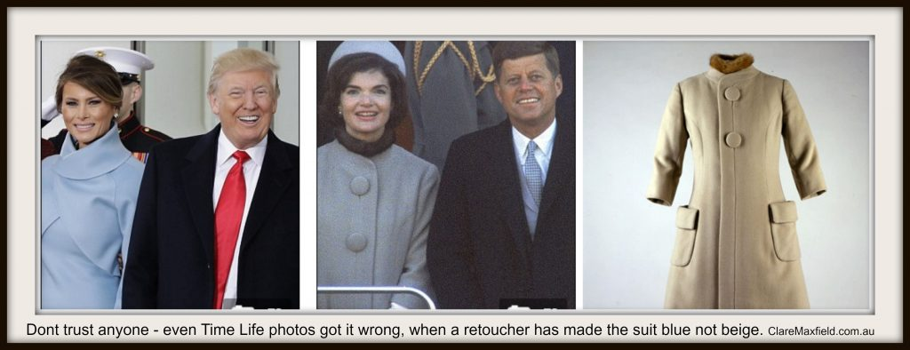 Jackie Kennedy wore beige not blue to President Kennedy's inauguration