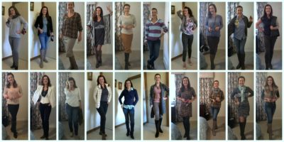 20 images of different outfits from a 100 day challenge days 20-40