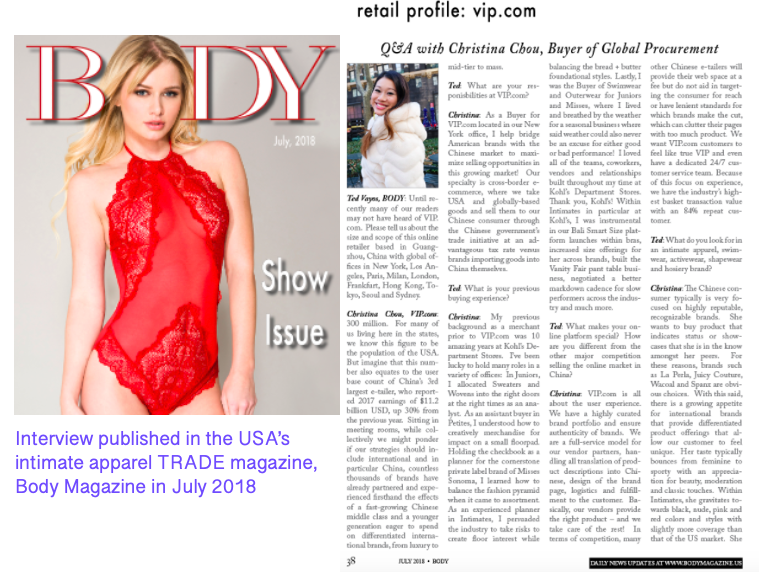 Interview published in Body Magazine discussing the opportunities in intimate apparel, sleepwear and athleisure between the USA and China
