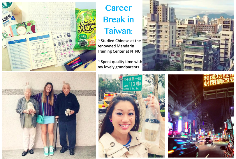 Collage of photos from my time in Taiwan for a career break, studying Mandarin Chinese and spending time with my grandparents