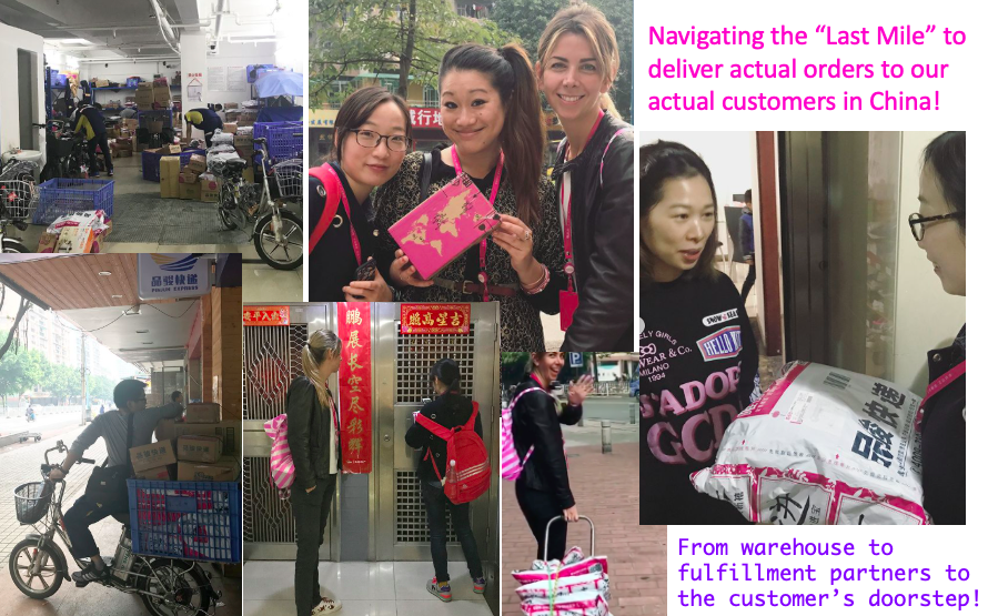 """Delivering packages in the """"last mile"""" to our customers in Guangzhou, China during a work training trip."""