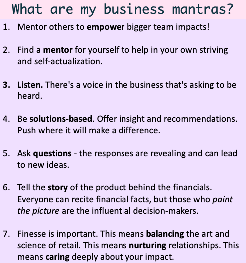 A list of my business mantras
