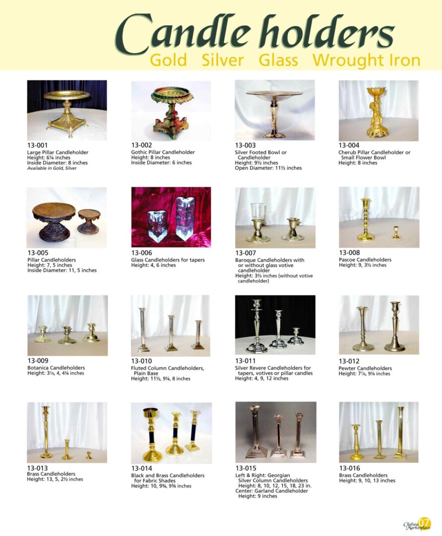 Different kinds of candleholders