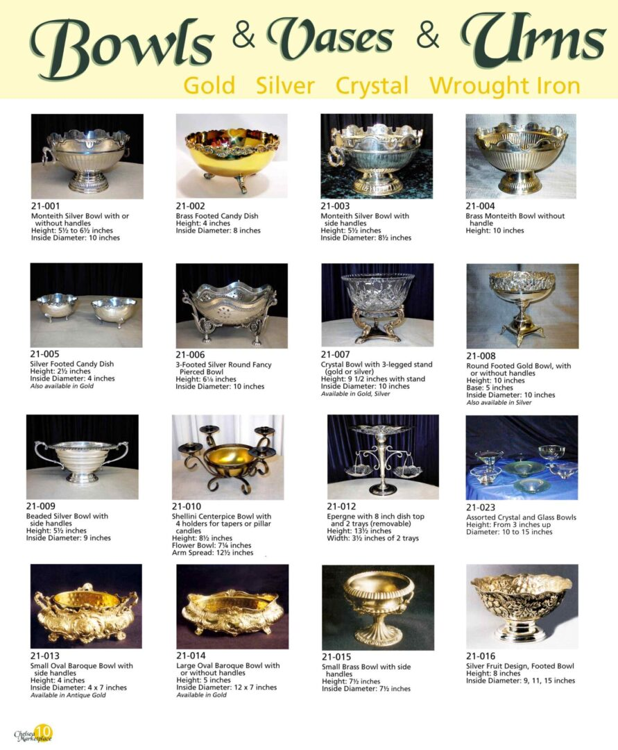 Bowls, vases, and urns
