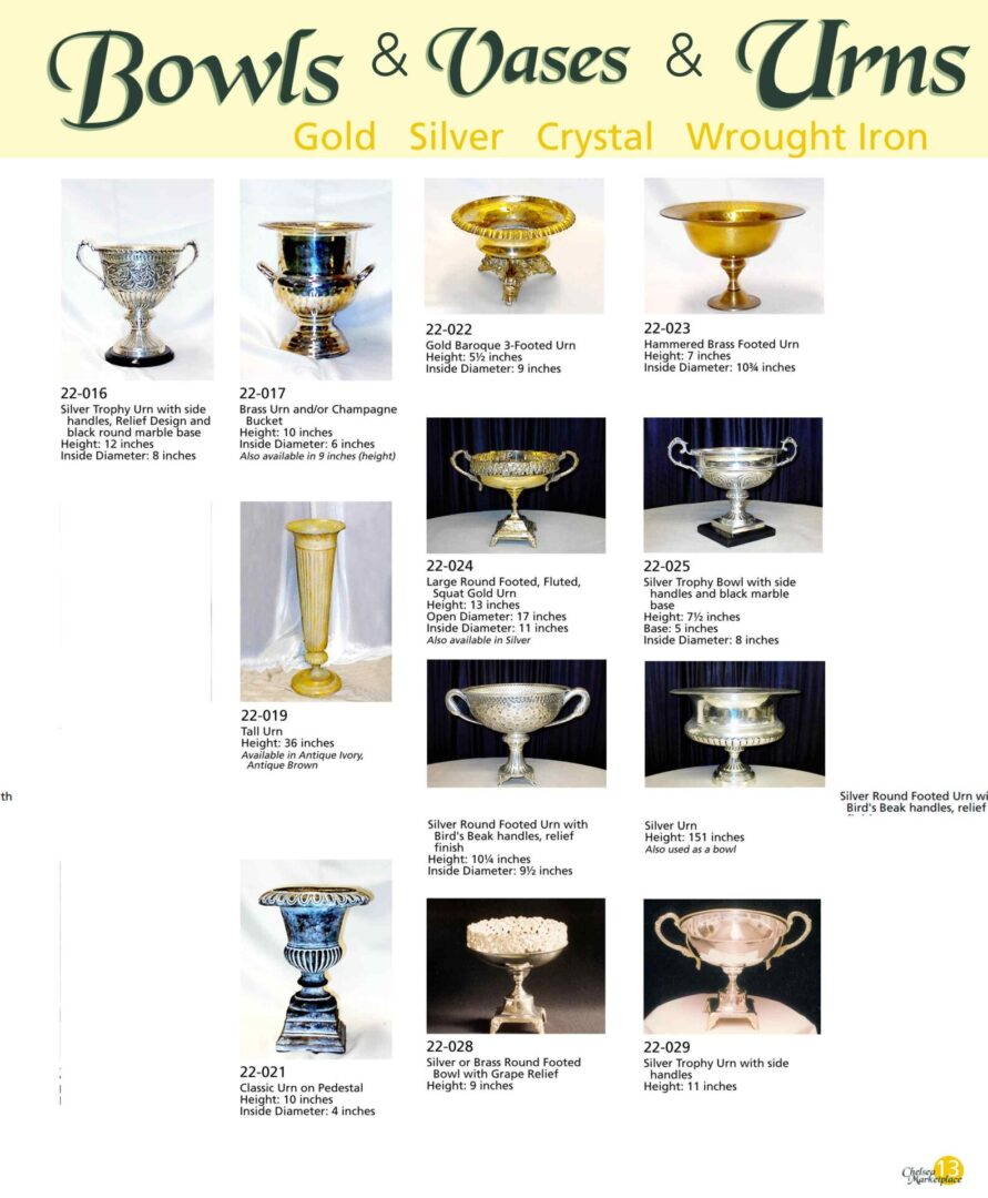 Urns with different designs
