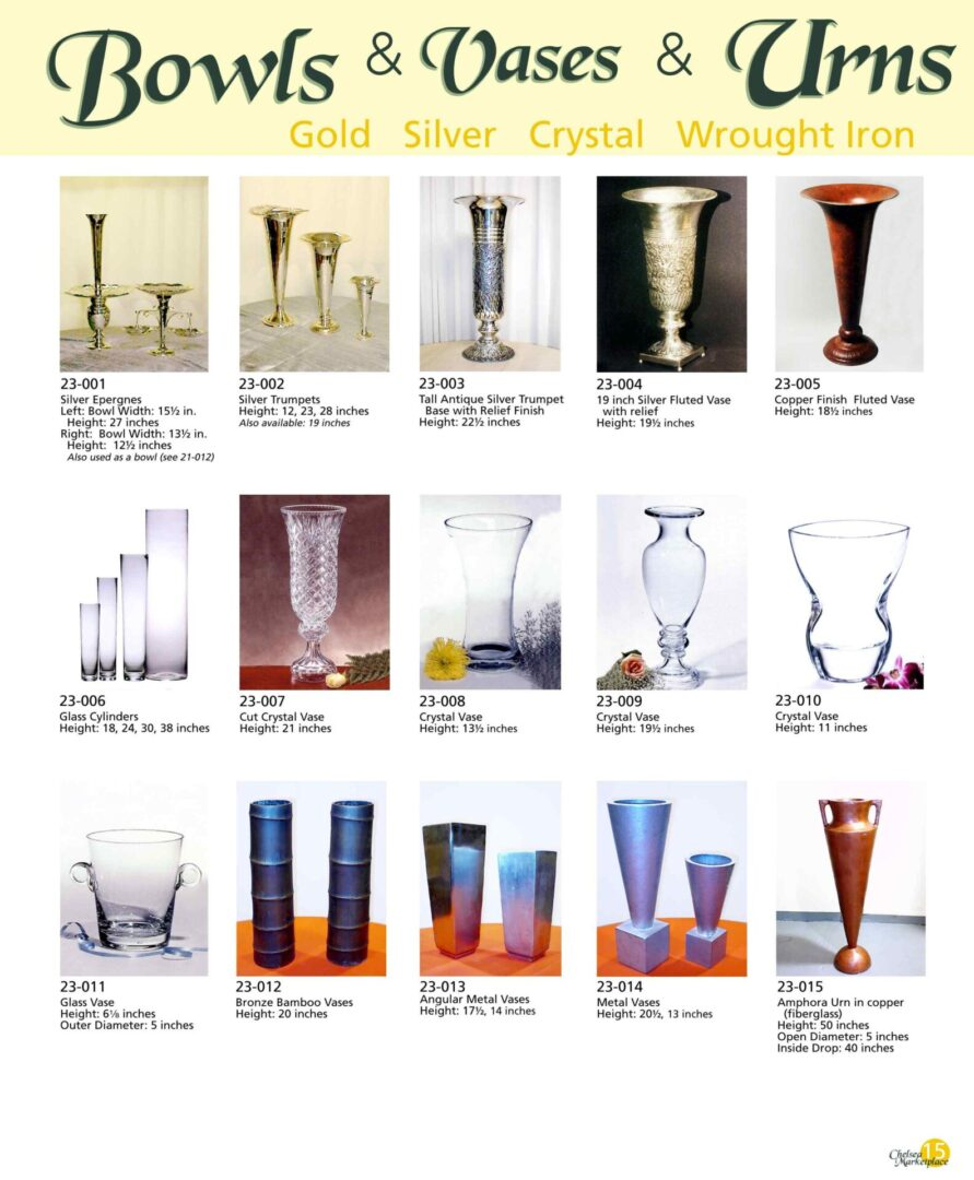 Different glass and metal vases