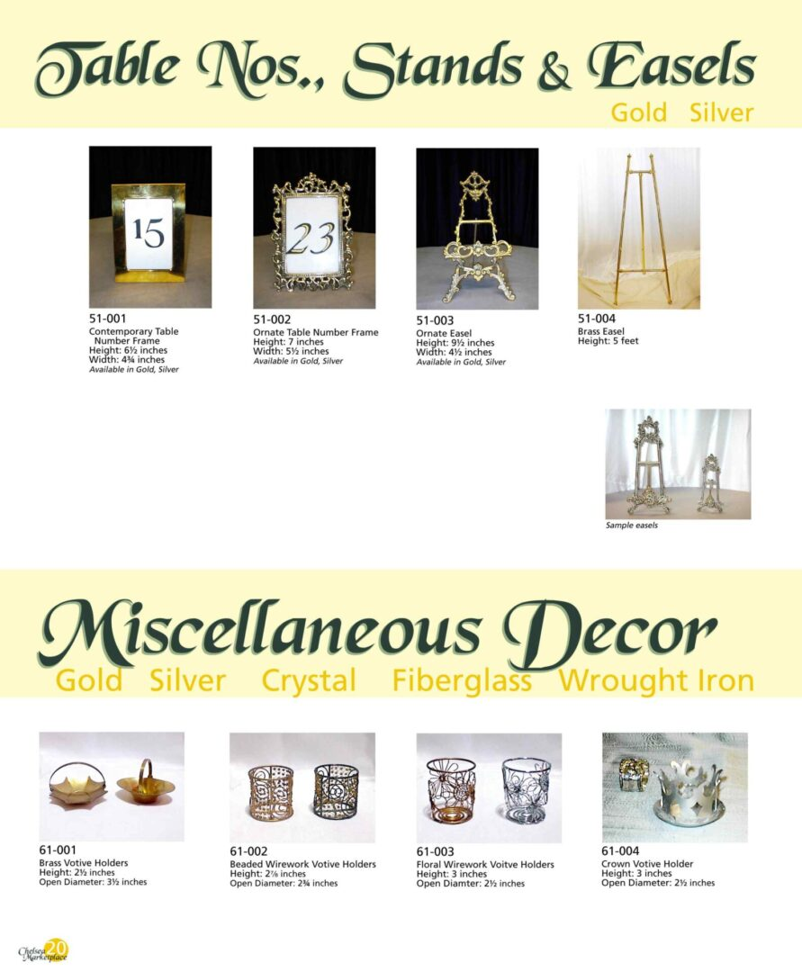 Table numbers, stands, and easels