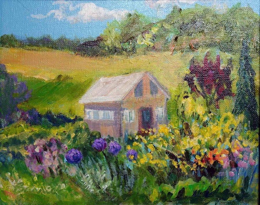 """""""A Country Garden"""", Acrylic on panel"""