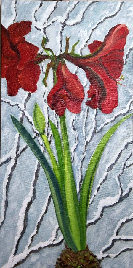 """Amaryllis Snow Branch"", Oil and Acrylic/Canvas"