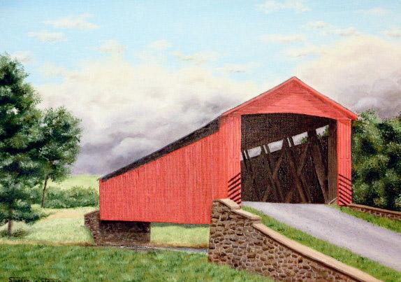 """Brown's Dam Covered Bridge"" - 22x26"""