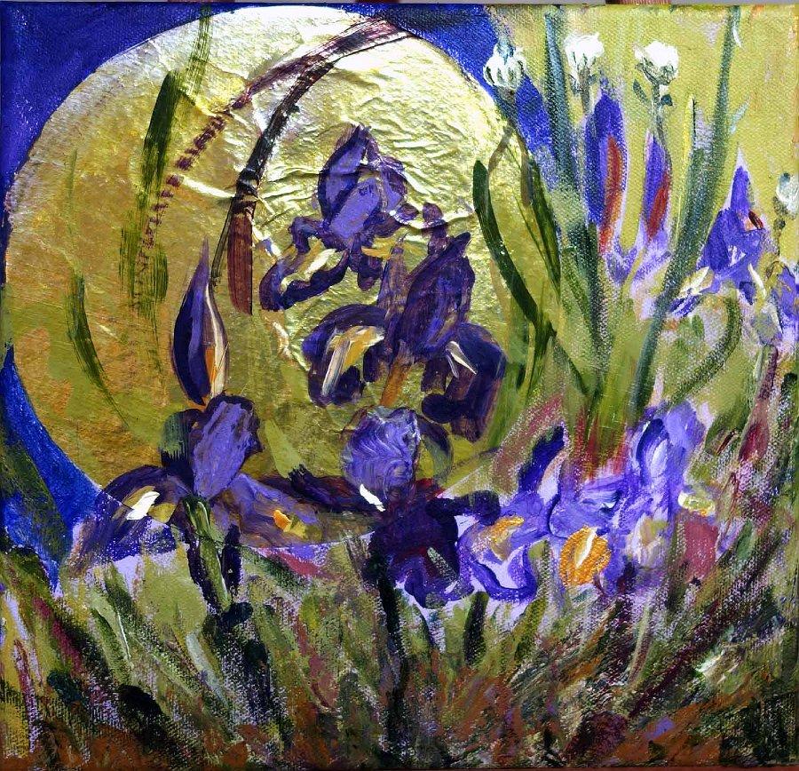 """""""Full Moon Iris"""", Mixed media on canvas"""
