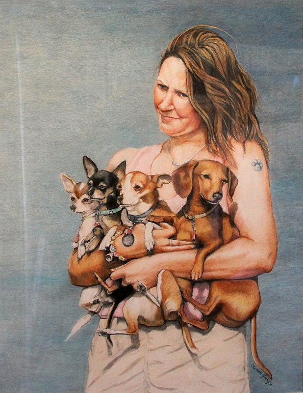 """""""Girl with 4 Dogs"""""""