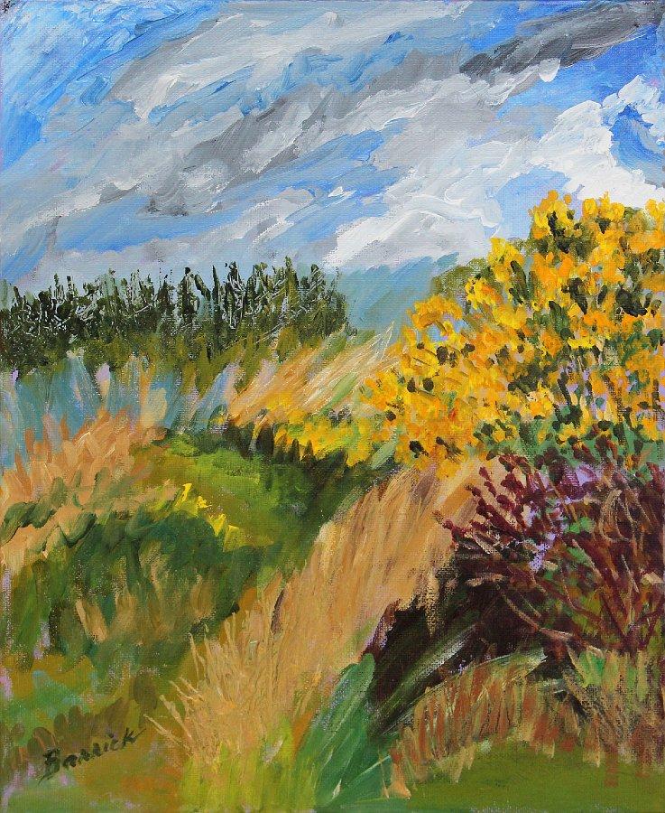 """""""Ireland, Glowing Yellow Gorse"""", Acrylic on panel, SOLD"""