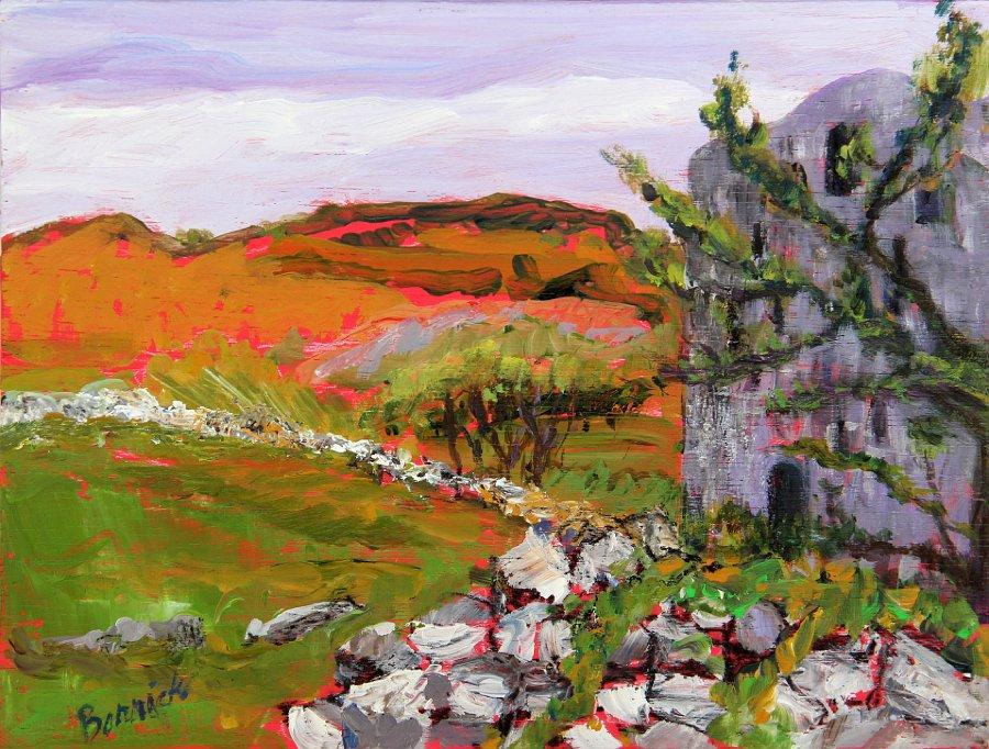 """Ireland, Leamaneh Castle Ruins"", Acrylic on panel"