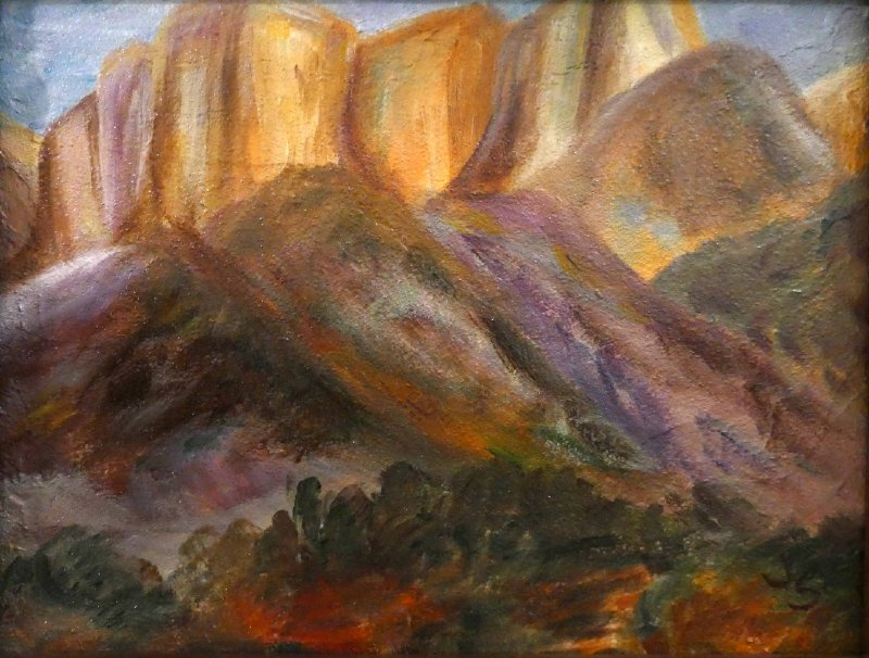 """""""Morning in Zion"""", Textured Acrylic, 8x10"""